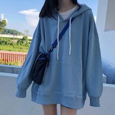 Oversize Female Loose Hoodies Sweashirt Spring Summer Fashion Korean Kpop sold by KawaiiGiggio. Shop more products from KawaiiGiggio on Storenvy, the home of independent small businesses all over the world. Korean Girl Fashion, Korean Street Fashion, Ulzzang Fashion, Kpop Fashion, Punk Fashion, Lolita Fashion, Blue Fashion, Korean Outfit Street Styles, Korean Outfits