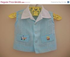 SALE Vintage Infant Boy Blue Embroidered Button by LittleMarin, $4.06