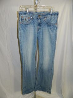 True Religion Billy Embroidered Pocket Denim Jeans Mens Size 32 x 33  INV#0373 #TrueReligion #BootCut