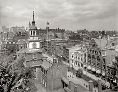 Independence Hall - 1910.  I like this picture.  It shows the old gal enmeshed in a city, rather than set off from the life around it, as it is today.