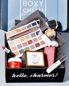 Before the weekend officially starts, here's another little surprise 🤗 Here's our full box reveal for one of the variations of this month's Premium box 💗 Who's excited? 🙋♀️ #BoxyCharm #BoxyGlamping #BoxyCharmPremium  Items in this variation:  Sunday Riley C.E.O. Vitamin C Rich Hydration Cream  Ciate London New England Editor Palette Dermelect XL Lash Volumizer  Fenty Beauty Fairy Bomb Shimmer Powder & Portable Contour and Concealer brush 150 Mac Cosmetics Lipstick Mac Cosmetics Lipstick, Sunday Riley, Concealer Brush, Hair And Nails, Box, Boxes, Mac Lipstick