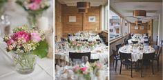 Die Tischdekoration für die Hochzeit im Hotel Alpina in Parpan, Graubünden.