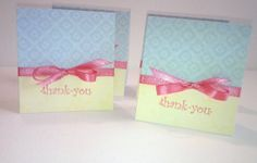 Pink Bow Thank Cards by NyraCards on Etsy,