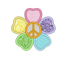Peace Flower Applique Machine Embroidery Design by OCDEmbroidery #peaceFlower