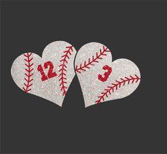 Baseball+Haert   Women's Glitter Bling Double Baseball Heart With Custom Number Shirt