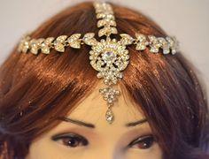 Gold Crystal Indian Matha Patti Tikka Head Jewelery by bjewel78