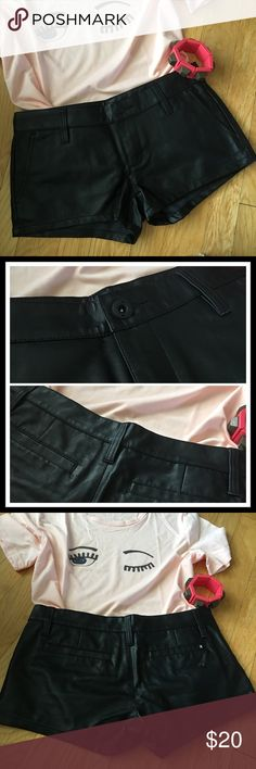 "NWOT Black Pleather WalkShorts NWOT Lowrider Novelty II WalkShorts black pleather 100% polyurethane.  Women's button closure low rise trouser fit 2.5"" inseam. Front slash and back welt pockets. Very nice quality.  Laying flat waist measures 15"". Top of waistband to hem 81/2"". Hurley Shorts"