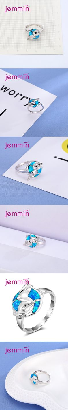 Jemmin Exquisite Double Fish Pattern Blue Fire Women Opal Rings Sterling Silver Fine Jewelry Wedding Party Anillos For Femme
