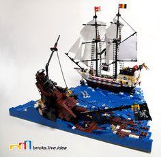 69 Lego Old Ships Ideas – How to build it Bateau Pirate Lego, Bateau Lego, Lego Pirate Ship, Pirate Cat, Lego Ship, Legos, Sleep With The Fishes, Lego Boat, Lego Construction