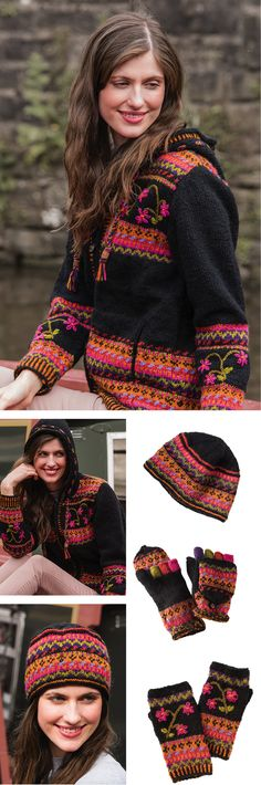 Himalayan Flower Hand Knit, Black hand knitted fleece lined jacket in fine wool with Fair Isle detail embellished with embroidered flowers. Fairly traded from Nepal by Namaste. Line Jackets, Himalayan, Embroidered Flowers, Fair Trade, Nepal, Namaste, Hand Knitting, Wool, Clothing