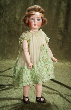 "20"" (51 cm.) German Bisque Flapper Doll in Original Costume by Dressel 700/900"