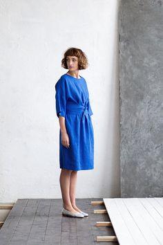 Linen Dress Royal Blue Linen Dress Loose Fit Dress