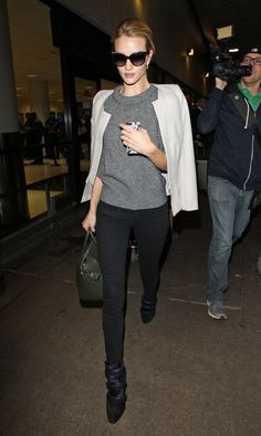 rosie huntington whiteley isabel marant gray sweater LAX 2013