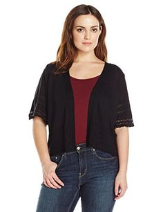 Robbie Bee Womens Plus Size Shortsleeve Shrug Black 3X -- You can get additional details at the image link.