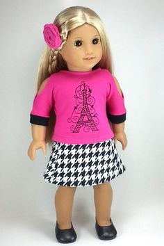 American Girl Doll Clothes for 18 Inch Doll Paris 3 Pc Skirt Outfit by ZigZagFashions