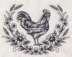 Machine Embroidery Patterns Machine Embroidery Designs at Embroidery Library! - New This Week Border Embroidery, Machine Embroidery Patterns, Hand Embroidery, Custom Embroidery, Embroidery Ideas, Huhn Tattoo, 1 Tattoo, Farm Tattoo, Tattoo Rings