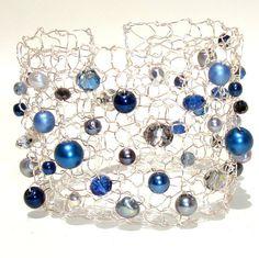 Sapphire Nautical Navy Blue Cuff Bracelet / Pearl por lapisbeach