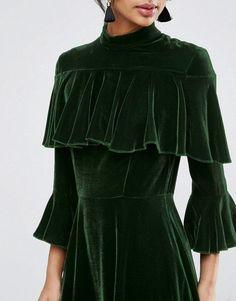 ASOS | ASOS Trumpet Sleeve Velvet Midi Dress