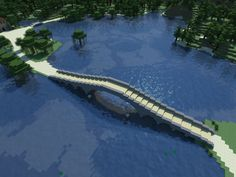 A Simple, Elegant Bridge for Minecraft Art Minecraft, Minecraft Bridges, Minecraft Building Guide, Minecraft Structures, Minecraft Plans, Amazing Minecraft, Minecraft House Designs, Minecraft Tutorial, Minecraft Blueprints