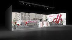 308 Möbel Redbrick Cube | Ansprechender Messestand für einen Möbelhersteller.   Die rahmenlos bedruckten Leuchtwände mit Wohnungsmotiven und Logodruck illuminieren die Stand...