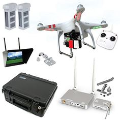 """DJI Phantom 2 V2.0 HD Broadcast Bundle By Drones Made Easy Everything you need to broadcast live HD video right out of the box (camera NOT included) Professionally built and tested by Drones Made Easy Comes with 2 extra batteries, 7"""" dual diversity monitor, Display mount, Lightbridge, Lightbridge mount, Case, and DJI Phantom 2 with Zenmuse H3-3D gimbal"""