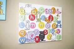 DIY 16x20 Canvas wrap Children's ABC & character play room art decor