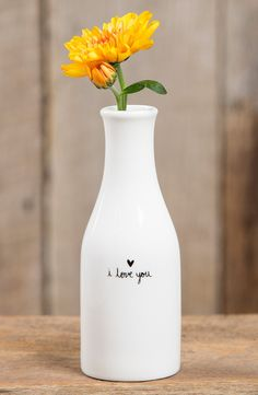 """Adoring this sweet, simple vase that reads """"I love you."""""""