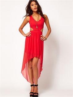 Sexy Red High-low Low-neckline Chiffon Prom Dress PD1968 www.simpledresses.co.uk £80.0000