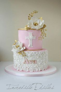first communion cakes for girls - Yahoo Image Search Results Pretty Cakes, Beautiful Cakes, Comunion Cakes, Decoration Communion, Christening Cake Girls, Baptism Cakes For Girls, First Holy Communion Cake, Gateau Baby Shower, Religious Cakes