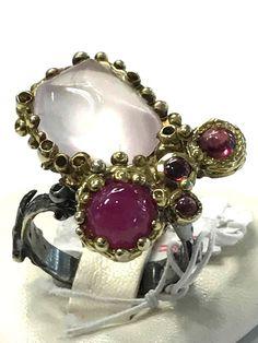 Unique FineArt Jewelry Rose Quartz Ruby Peridot 925 Sterling Silver Ring Sz 8