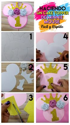 How to make a Minnie Mouse cake topper Cake Toppers, Diy Cake Topper, Minnie Mouse 1st Birthday, Minnie Mouse Party, Disney Drawing Tutorial, Minnie Mouse Cake Topper, Birthday Balloon Decorations, Basic Embroidery Stitches, Mickey Party