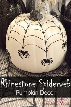 Rhinestone Spiderweb Pumpkin Decor Halloween Craft Tutorial #halloween #pumpkin #craft via @theinspovault
