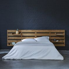 Large headboard – Sale of slatted teak bedroom furniture – Tikamoon Driftwood Headboard, Rattan Headboard, Double Headboard, Diy Bed, Headboards For Beds, Contemporary Bedroom, New Room, Bedroom Decor, Interior Design