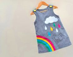 Girls dress rainbow raindrops cloud grey pinafore: