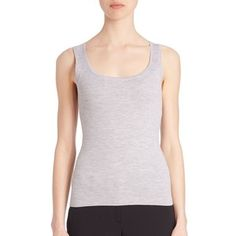 Michael Kors Fitted Cashmere Tank In Grey Looks Chic, Michael Kors Collection, Streetwear Brands, Basic Tank Top, Athletic Tank Tops, Cashmere, Scoop Neck, Luxury Fashion, That Look