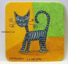 STREIFENKATZE Nr. 2 von Herbivore11 Bierdeckel Bild Katze Effektfarbe Unikat