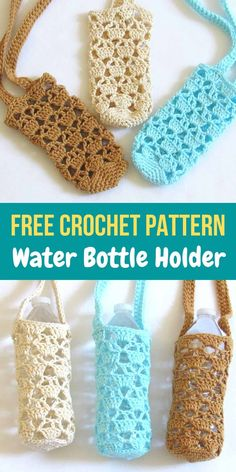 Try this free crochet pattern for a water bottle holder. The bottle carrier is very convenient and will keep your hands free. This is an easy and quick beginner friendly project that everyone can enjoy. Tricot Simple, Hand Embroidery Patterns Free, Crochet Free Patterns, Embroidery Designs, Mode Crochet, Knit Crochet, Crochet Gloves, Crochet Bags, Knitting For Beginners