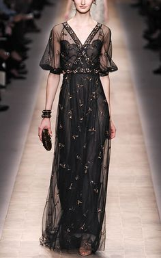 Valentino Tulle Embroidered V-Neck Gown - Moda Operandi