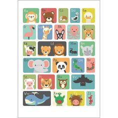 ABC dieren poster 50x70cm Leer de kleintjes op een speelse manier de letters van het alfabet kennen. En laat ze ook hun fantasie gebruiken. Want wat is nou het beestje van de X? Die mogen ze zelf verzinnen.