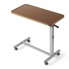 Table Overbed Bed Tilt Over Top Hospital Adjustable New Rolling Tray Medical New