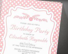 Modern Polka Dot Birthday Party Invitation