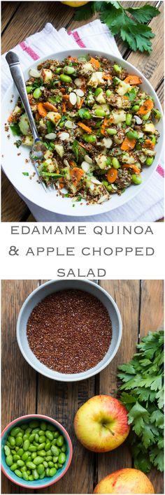 Edamame Quinoa and Apple Chopped Salad - nutritious salad with edamame, quinoa and salad tossed in citrus vinaigrette | littlebroken.com @littlebroken