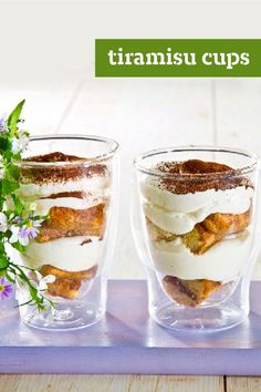 Tiramisu Cups – We're fans of tiramisu in any of its many luscious recipes. But we particularly like these easy-to-make layered dessert cups that serve 8—scrumptiously!