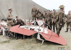 In the early hours of the 22nd April, the remains of Manfred von Richthofen and his 'Red' Fokker Triplane were retrieved from the landing site and bought to the aerodrome of No. 3 Squadron, Australian Flying Corps.