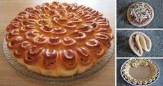 Výborný slaný dort z kynutého těsta. Malé kousky uložíme do kulaté formy a vytvoříme tak kvítek Chryzantéma.