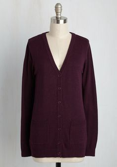 Have a Good Knit Cardigan in Mulberry | Mod Retro Vintage Sweaters | ModCloth.com