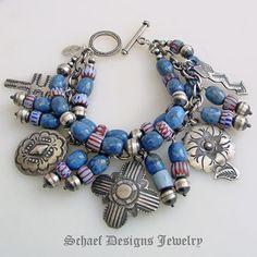 Schaef Designs VJP Rocki Gorman denim lapis & Vintage Charm bracelet | denim jewelry collection | Schaef Designs artisan handcrafted Southwe...