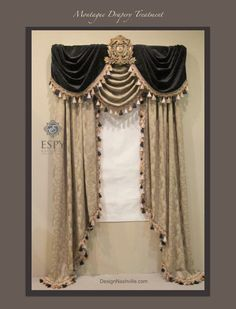 """Montague Drapery Treatment: opulence for an ordinary window. Materials are black velvet, cappuccino embroidered jacquard, and 4"""" tassel fringe. The detachable acanthus leaf cartouche is finished in Old World Bronze. The design can be personalized or made with other fabrics."""