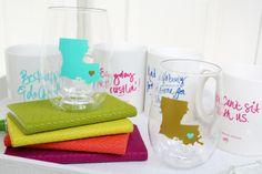 White Elephant Designs customized state wine glasses