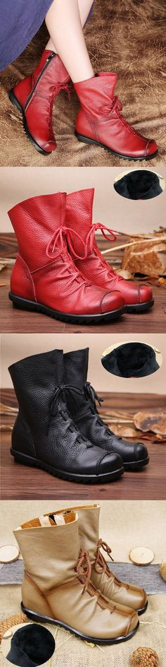 US$32.59 SOCOFY Big Size Pure Color Lace Up Ankle Leather Comfortable Zipper Boots